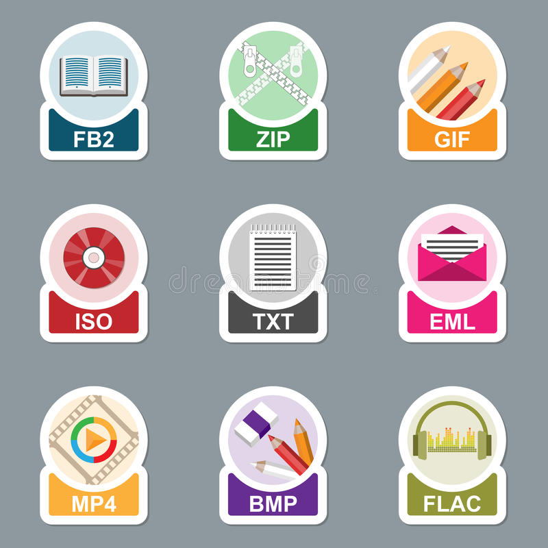Set of file type icons. Pictograms of media extensions stock illustration