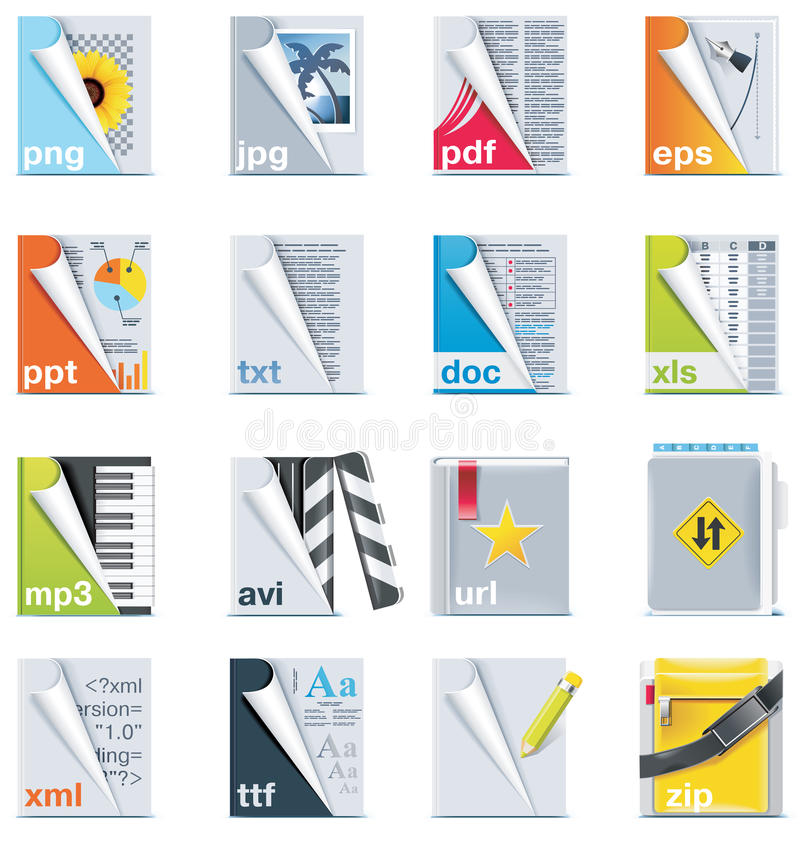 Set of the files and folders icons royalty free illustration