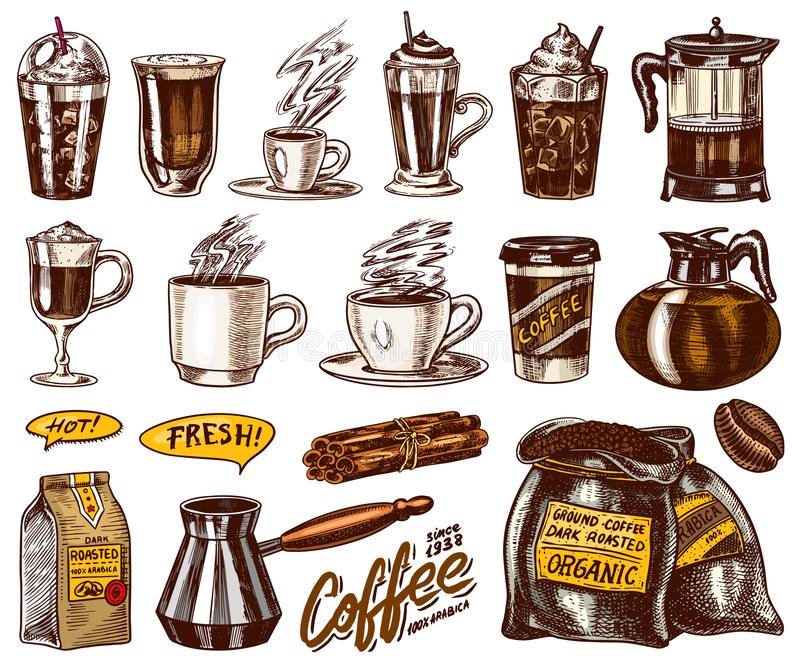 Set filiżanka kawy w rocznika stylu Bierze oddaloną kawę espresso, latte, mokka, Americano, Cappuccino i Glace, frappe ilustracja wektor