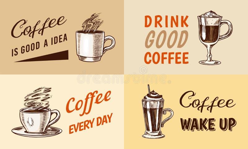 Set filiżanka kawy w rocznika stylu Bierze oddalonego Cappuccino, kawa espresso, latte, mokka i Americano i Glace, frappe ilustracji