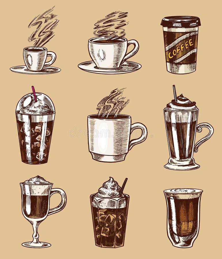 Set filiżanka kawy w rocznika stylu Bierze oddalonego Cappuccino, kawa espresso, latte, mokka i Americano i Glace, frappe ilustracja wektor