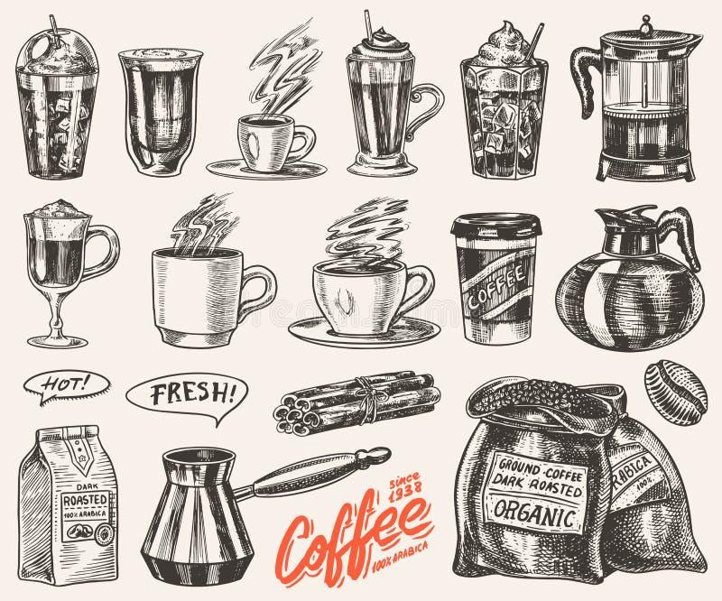 Set filiżanka kawy w rocznika stylu Bierze oddalonego Cappuccino, kawa espresso, latte, mokka i Americano i Glace, frappe royalty ilustracja