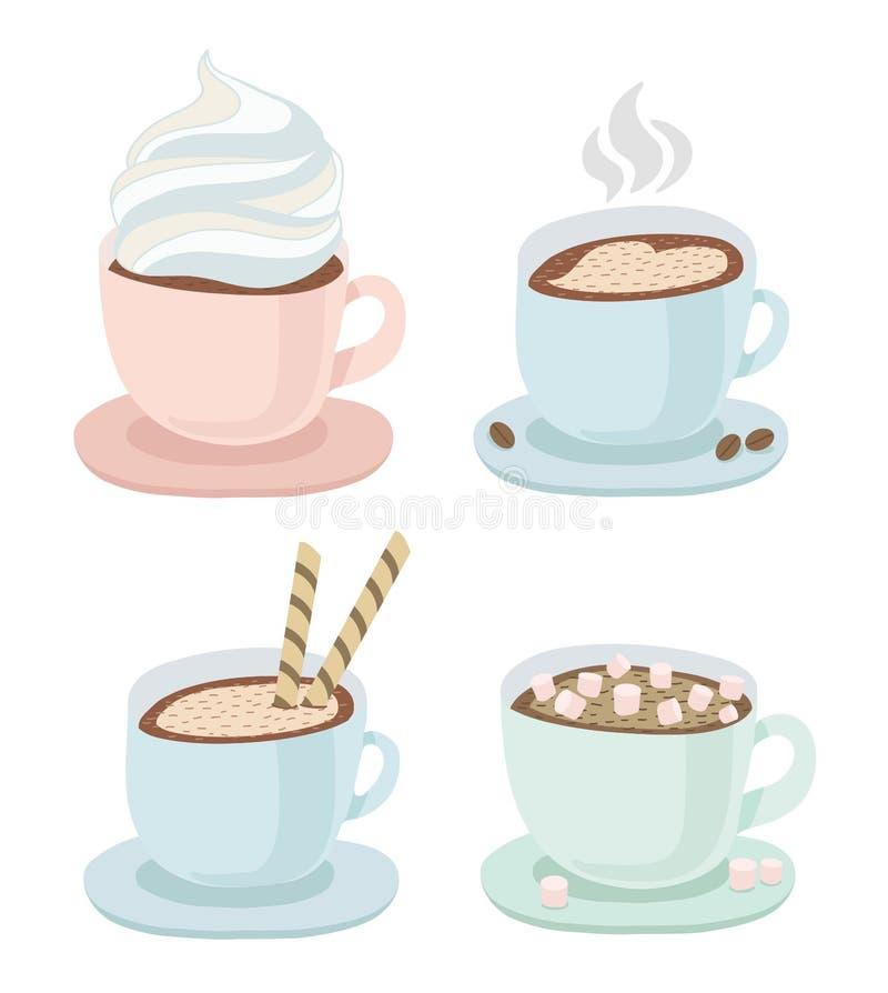 Set filiżanka z spodeczkiem gorąca kawa lub czekolada z batożącą śmietanką, rysować serce, opłatek, mały marshmallow, ciastka kon ilustracji