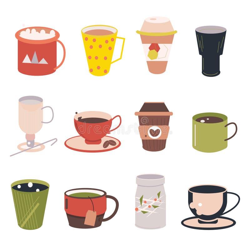 Set fili?anka - Mockup szablon dla kawiarni, Restauracyjny gatunek to?samo?ci projekt Czarny, Biały, Brown filiżanki kartonowy Mo royalty ilustracja