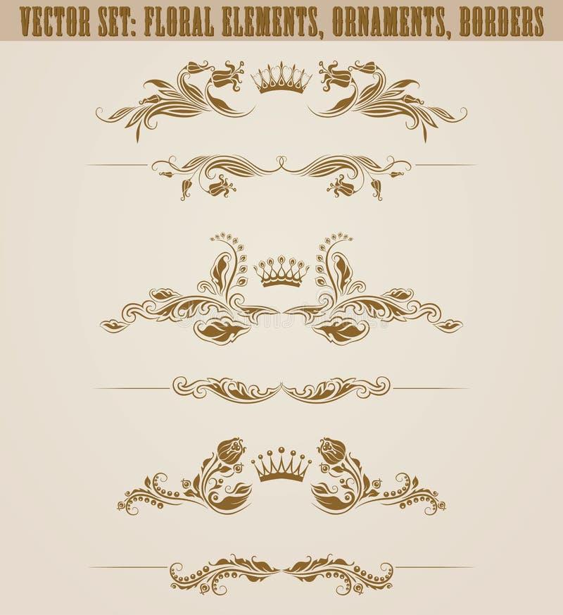Set filigree adamaszkowi ornamenty Kwieciści złoci elementy, royalty ilustracja