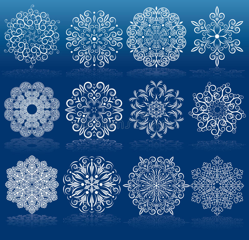 Set Of Filigree Snowflakes Stock Photos