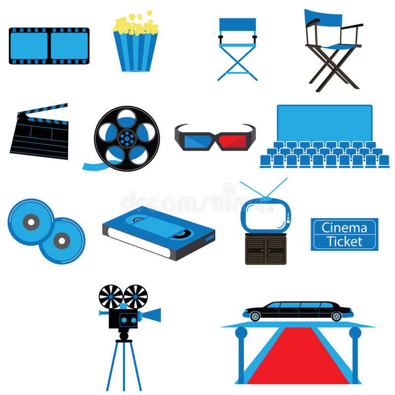 Set of Film Movies Cinema and Entertainment Vectors and Icons stock illustration