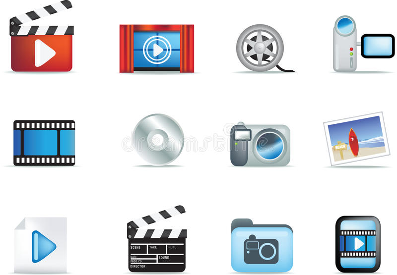 Set Film- und Fotoikonen vektor abbildung