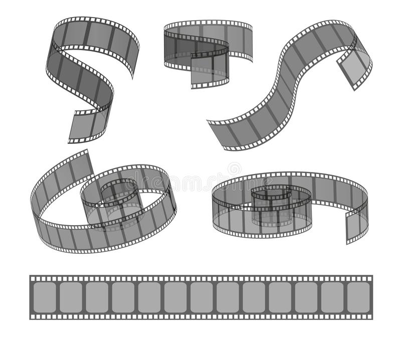 Set of filmstrip rolls. Collection of realistic movie and cinema elements or objects. royalty free illustration