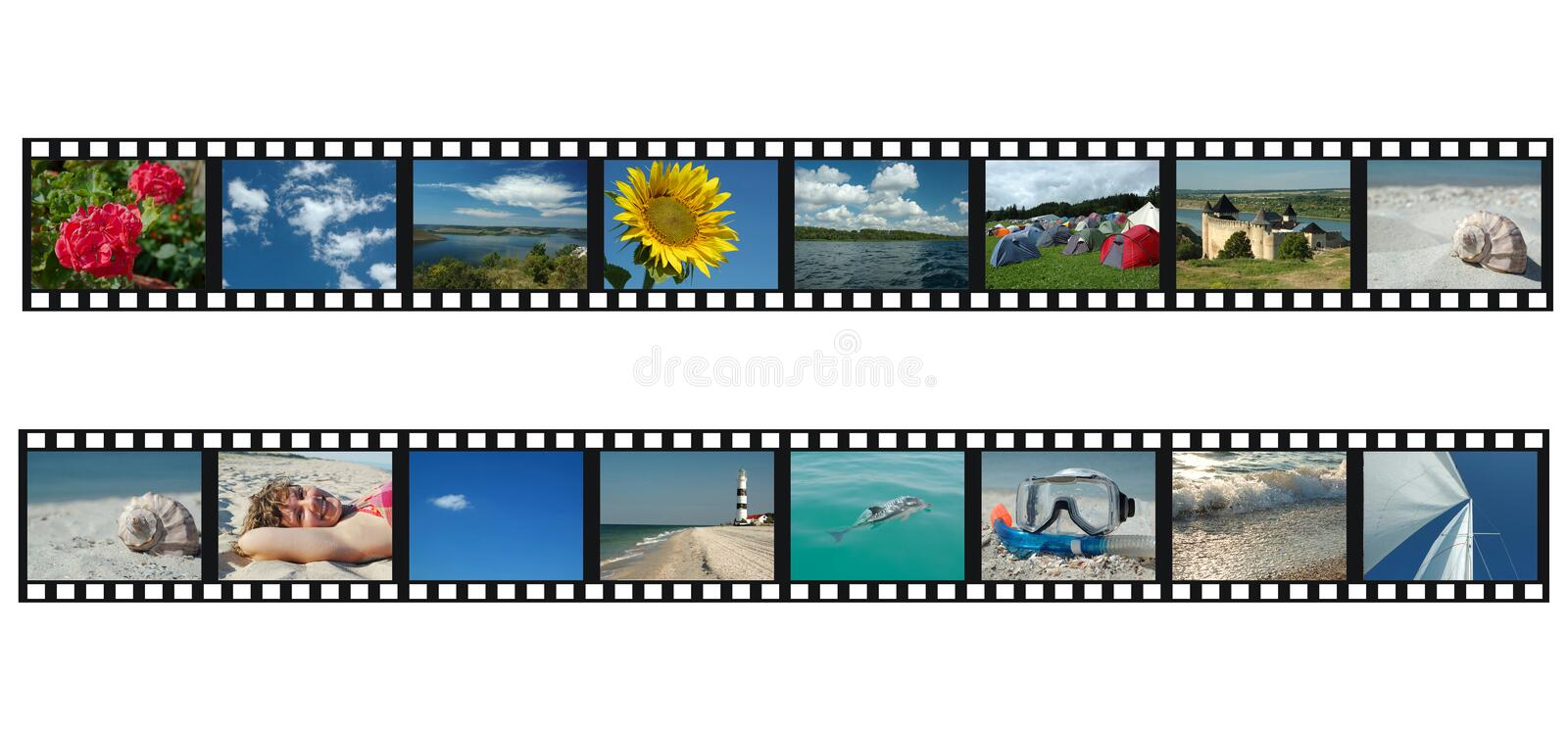 Set of filmstrips with travel vacation photos stock image