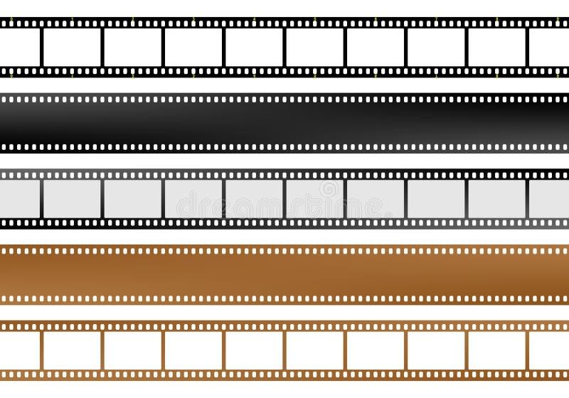 Set filmu, kamery pustego miejsca filmu paski różni kolory i royalty ilustracja