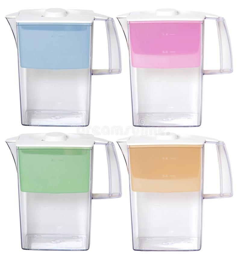 Set of filter jugs for cleaning water for purification stock image