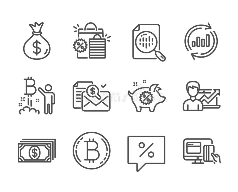 Set of Finance icons, such as Update data, Accounting report, Money bag. Vector. Set of Finance icons, such as Update data, Accounting report, Money bag stock illustration