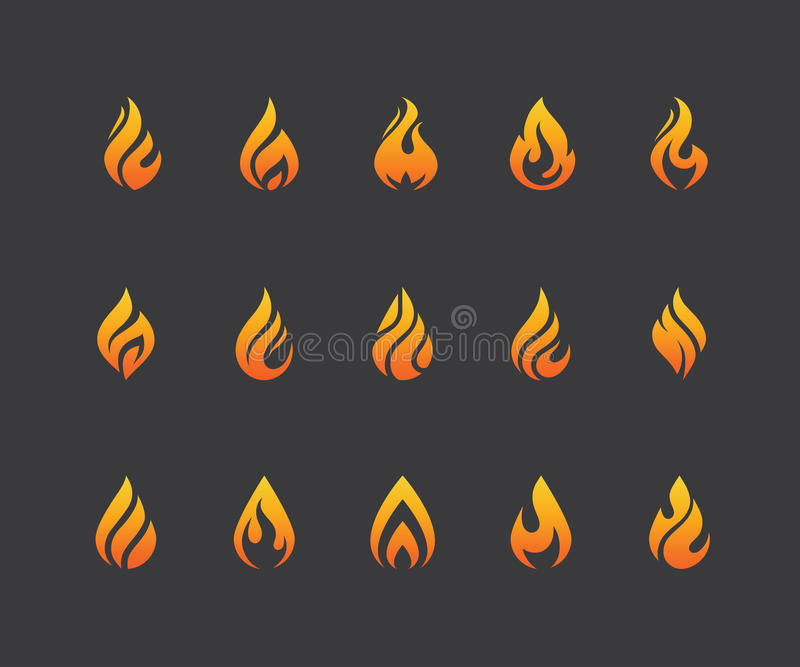 Set of fire flame icons and logo isolated on black background. royalty free illustration