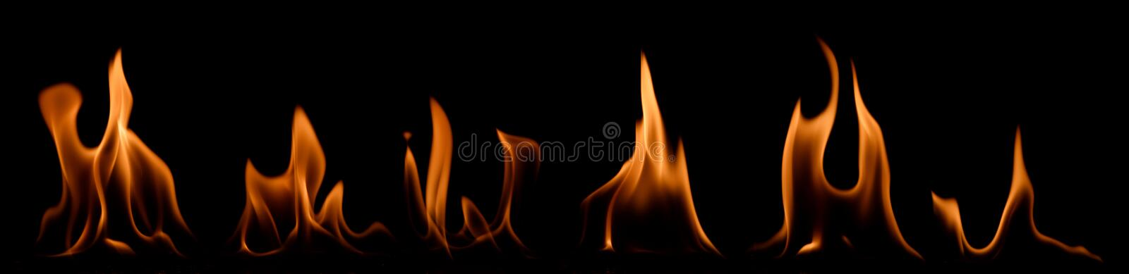 Set of fire flames stock images