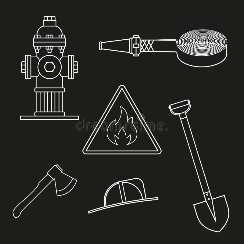 Set on fire service. Objects on a white background stock illustration