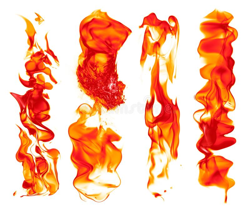 Set of fire strokes - perfect fire strokes for hot illustration royalty free stock photo
