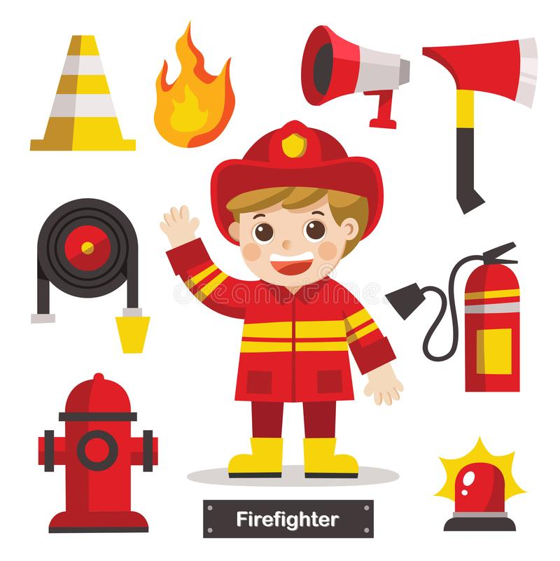 Set of Firefighter with Fire safety equipments. vector illustration