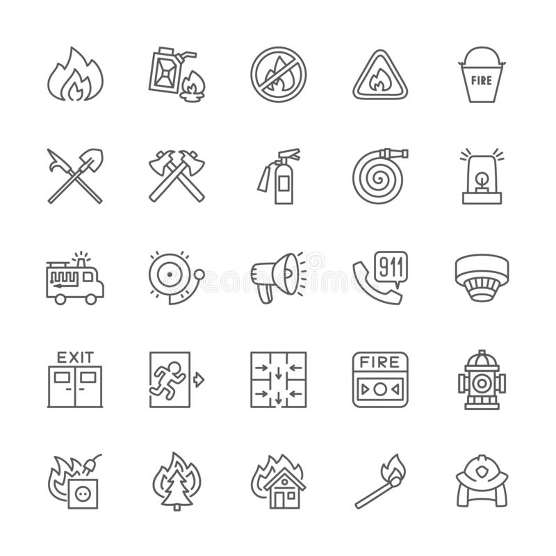 Set of Firefighter Line Icons. Fireman, Evacuation Plan, Hydrant and more. royalty free illustration