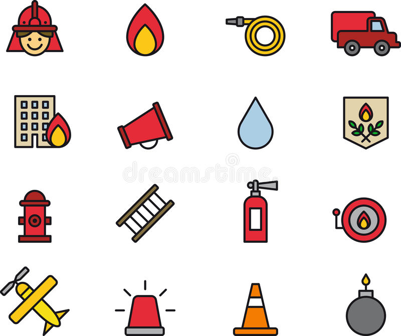 Set of Firefighting Icons or Symbols. Set of colorful simple icons or symbols for firefighting and fire safety royalty free illustration