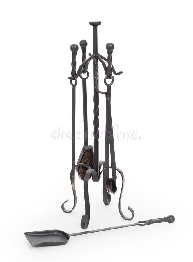 Set of fireplace accessories stock photos