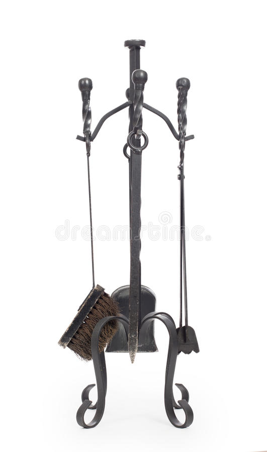 Set of fireplace accessories stock photography