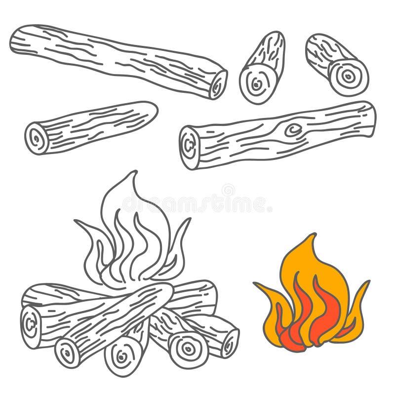 Set of Firewood and Campfire Illustration Vector vector illustration