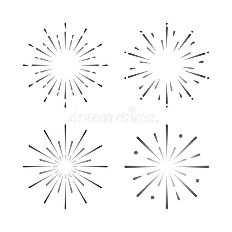 Set of firework explosion vectors stock illustration