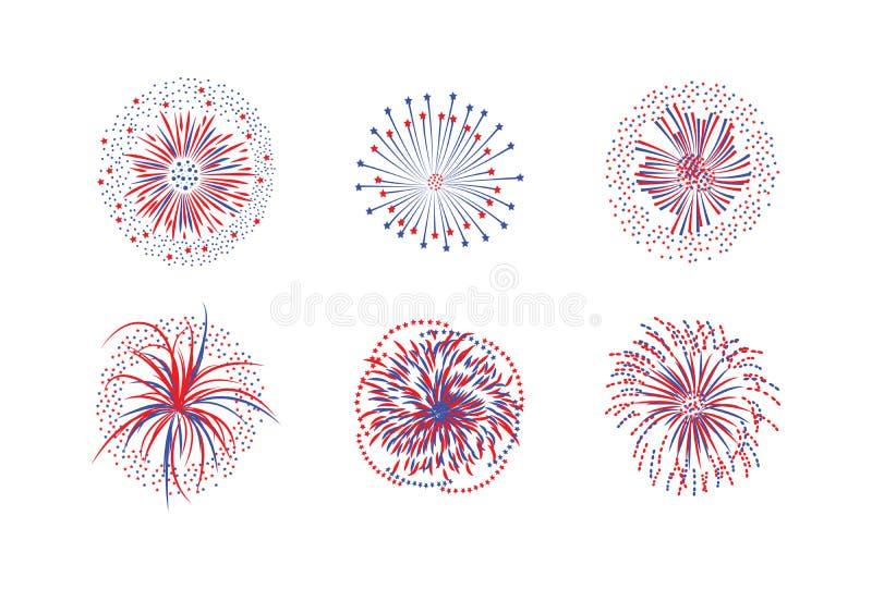 Set of firework rays or firecracker lights flat vector illustration isolated. Set of firework rays and stars or firecracker lights flat vector illustration vector illustration