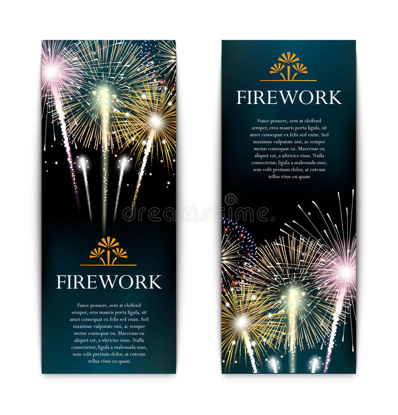 Set of fireworks, festive vertical banner, firecracker vector vector illustration