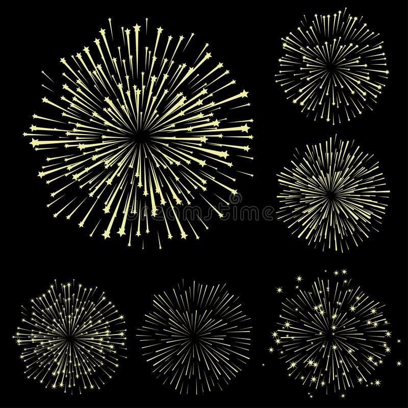 Set of fireworks, part 5. Yellow shadow isolated on black background, vector illustration vector illustration