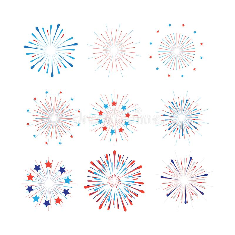 4th of July Happy Independence Day symbols icons set Patriotic American flag, stars fireworks confetti set vector royalty free illustration