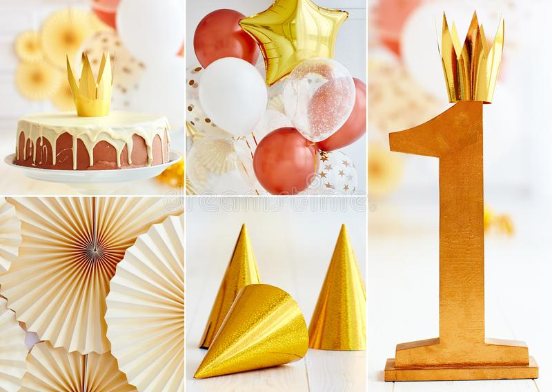 Set of first baby birthday party decorations in golden tones, with balloons and cake. Set of first baby birthday party decorations in golden tones, with balloons stock photography