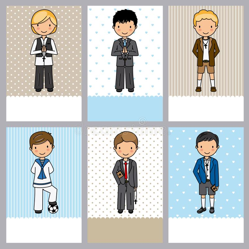 Set of 6 first communion boy cards vector illustration