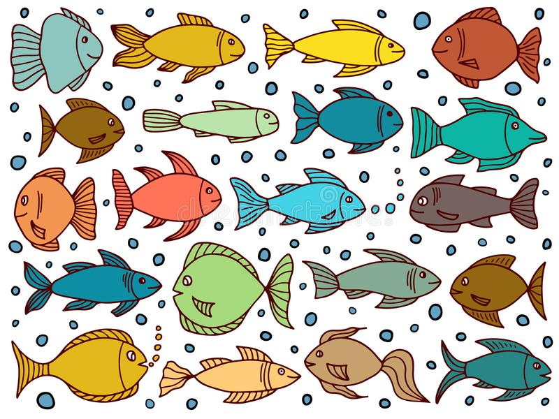 Set with fishes in doodle style royalty free illustration