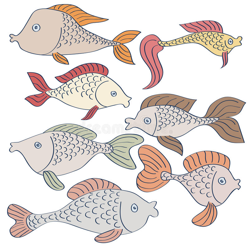 Set of fishes drawing vector illustration