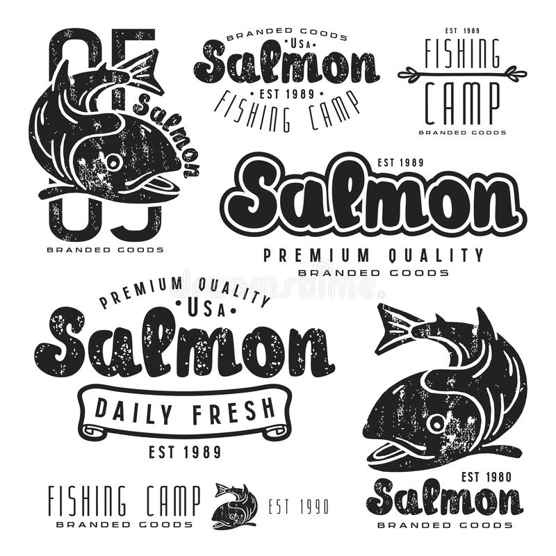 Set of fishing labels in retro style. Black print on white background stock illustration