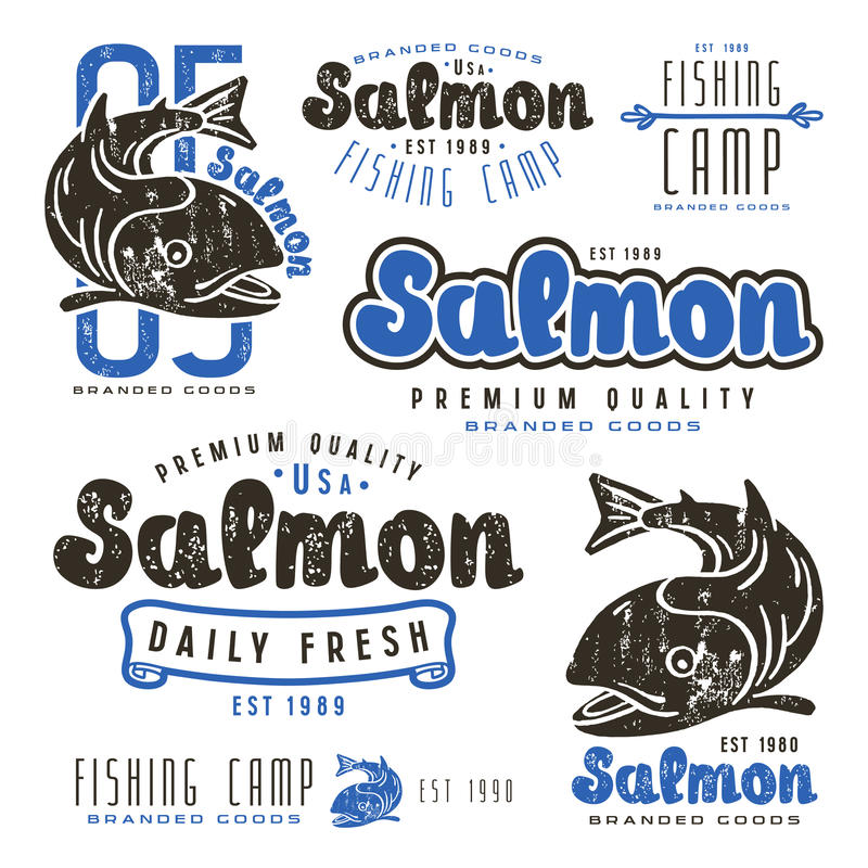 Set of fishing labels in retro style. Color print on white background royalty free illustration