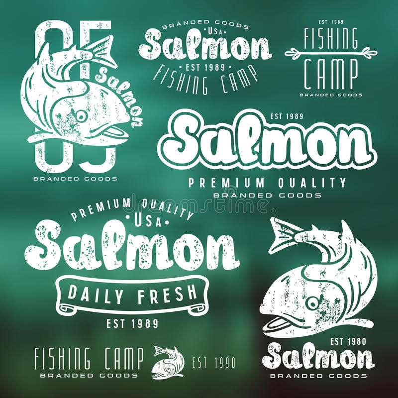 Set of fishing labels in retro style. White print on blurred background vector illustration