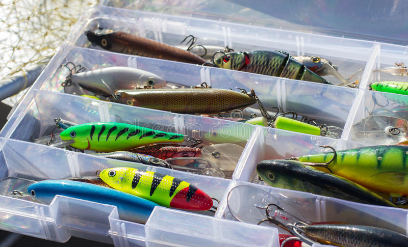 Set of fishing lures stock photo