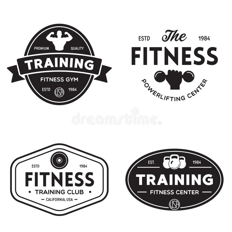 Set of fitness badges with sport equipment and people. Labels in vintage style with sport silhouette symbols. Vector illustration royalty free illustration