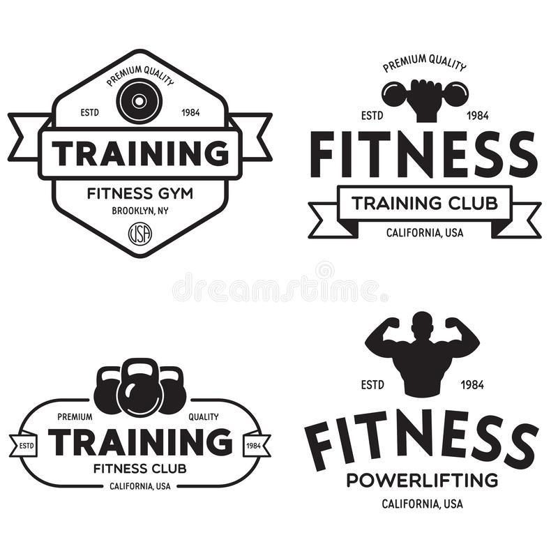 Set of fitness badges with sport equipment and people. Labels in vintage style with sport silhouette symbols. Vector illustration vector illustration