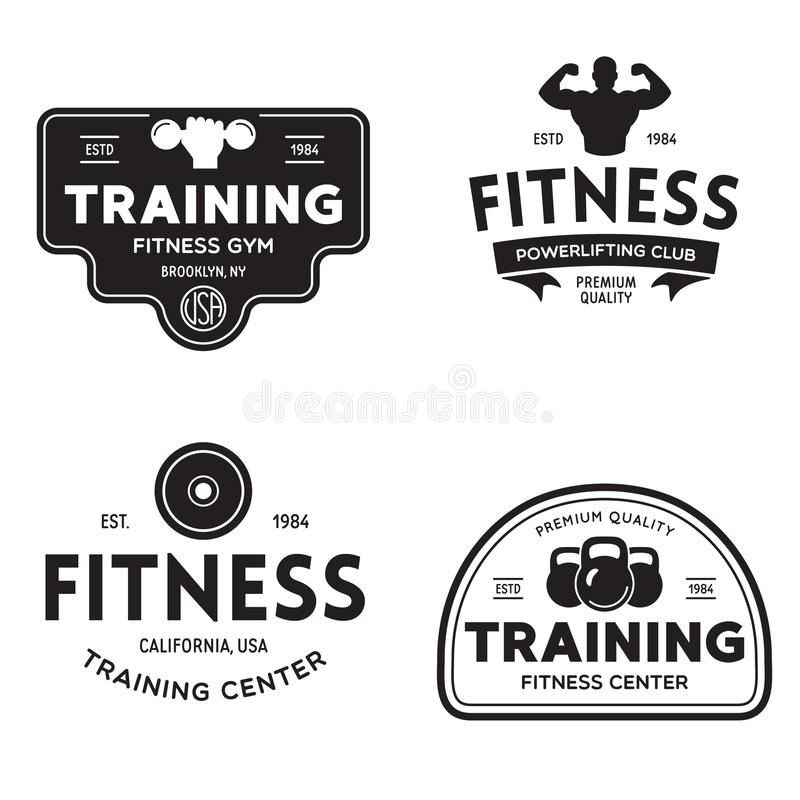 Set of fitness badges with sport equipment and people. Labels in vintage style with sport silhouette symbols. Vector illustration stock illustration