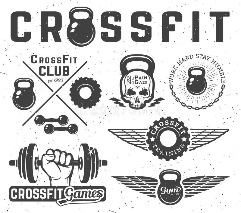 Set of fitness emblems. Set of monochrome fitness emblems, labels, badges, logos and designed elements vector illustration