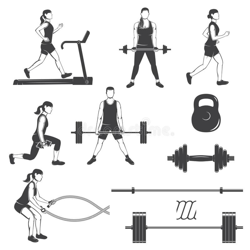 Set of fitness girls with fitness equipments silhouette. Runing on the treadmill machine, working out in gym with weight, exercises with battle ropes. Vector stock illustration