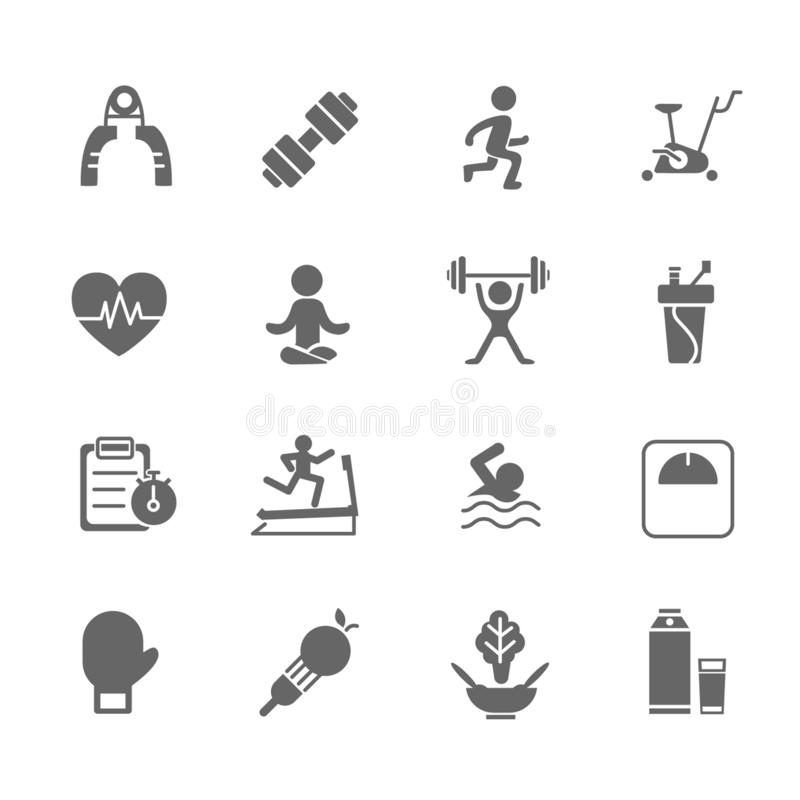 Set of Fitness Vector Icons. Includes running, yoga, dumbbell, bottle and more. Set of Fitness Vector Icons. Includes running, yoga, dumbbell, bottle stock illustration