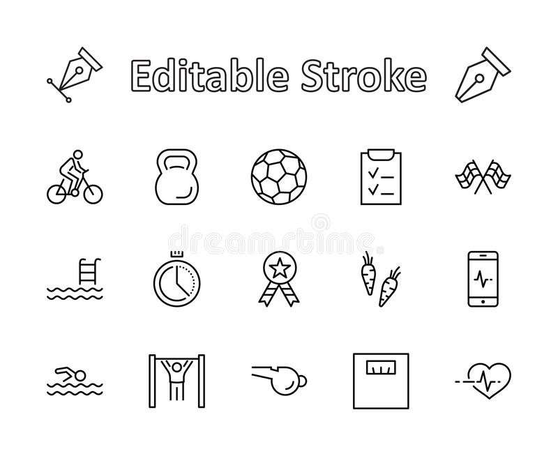 Set of Fitness Vector Line Icons. Contains such Icons as Cycling, Kettlebell Sport, Soccer Ball, Heartbeat, Workout royalty free stock photo