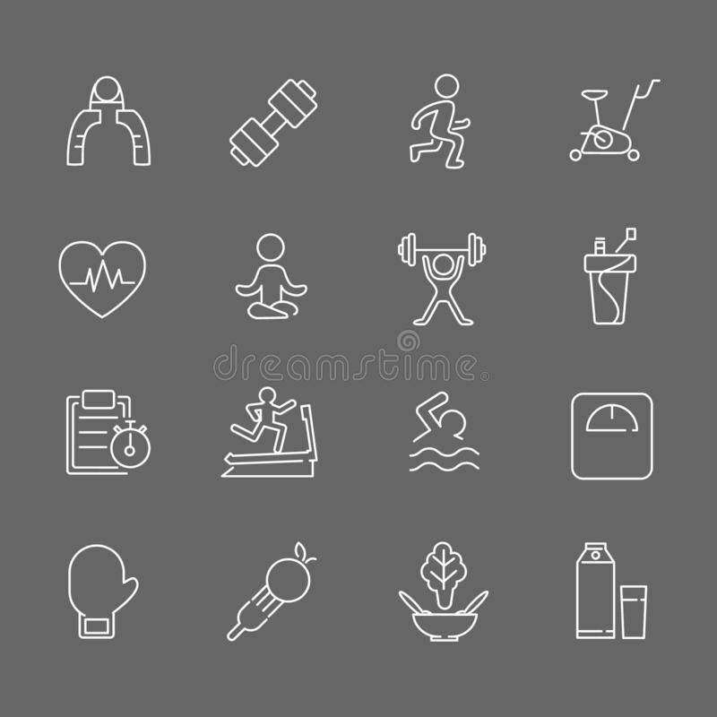 Set of Fitness Vector Line Icons. Includes running, yoga, dumbbell, bottle and more. In gray background. Set of Fitness Vector Line Icons. Includes running, yoga stock illustration