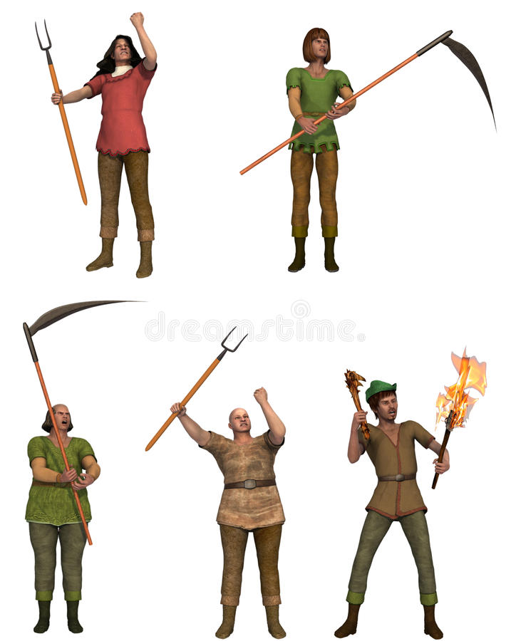 A set of five angry villagers with pitchforks stock illustration