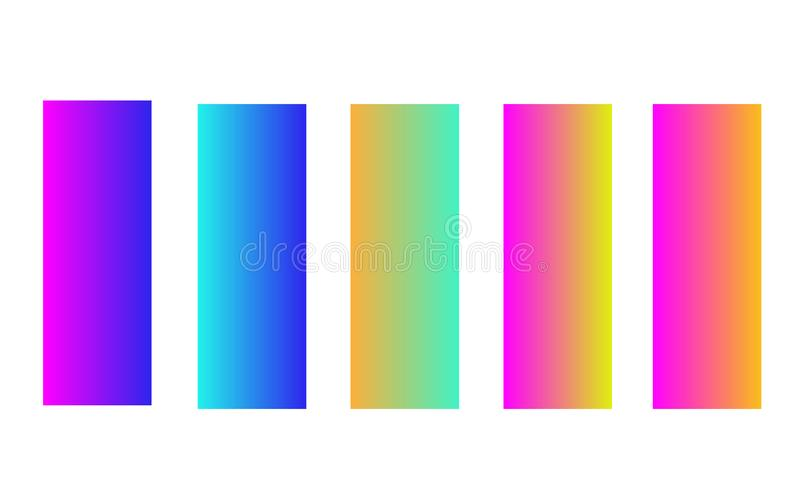 Set of five colorful bright banners, colorful glossy tags vector illustration